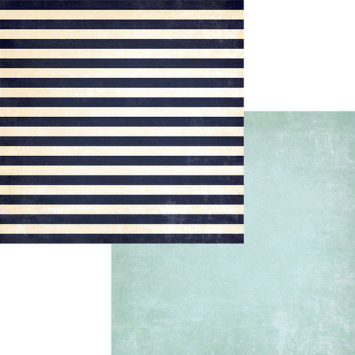 Fancy Pants Designs - Down by the Shore Collection - 12 x 12 Double Sided Paper - Striped Towel