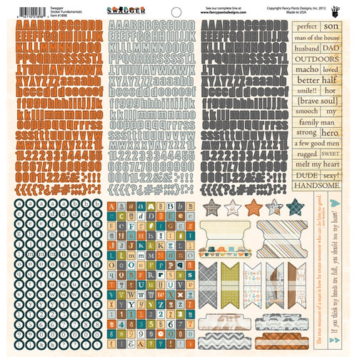 Fancy Pants Designs - Swagger Collection - 12 x 12 Cardstock Stickers - Fundamentals