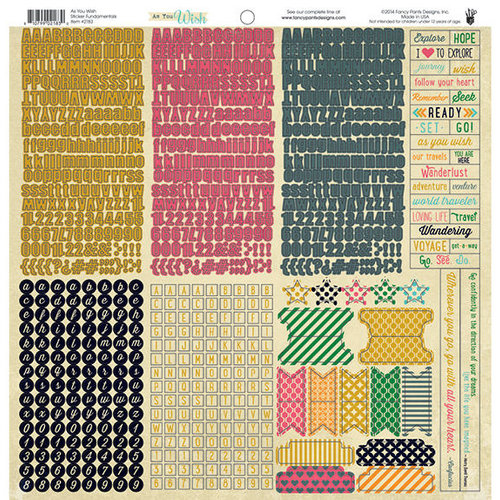 Fancy Pants Designs - As You Wish Collection - 12 x 12 Cardstock Stickers - Fundamentals