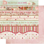 Fancy Pants Designs - Vintage Valentine Collection - 12 x 12 Double Sided Paper - Valentine Strips, CLEARANCE