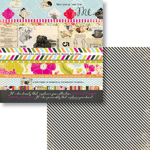 Fancy Pants Designs - Me-ology Collection - 12 x 12 Double Sided Paper - Me-ology Strips