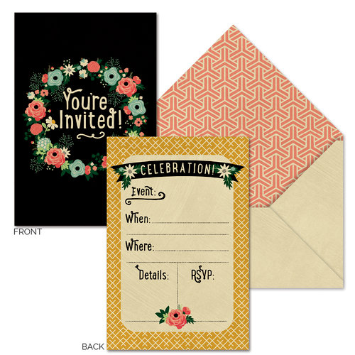 Fancy Pants Designs - Burlap and Bouquets Collection - Invitations with Envelopes