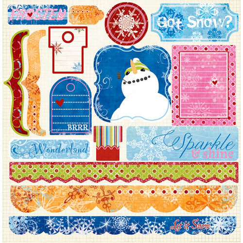 Fancy Pants Designs - Frosted Collection - Christmas - 12 x 12 Cardstock Stickers, CLEARANCE