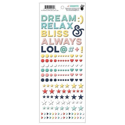 Fancy Pants Designs - Happy Place Collection - Puffy Stickers - Mixed Words and Shapes
