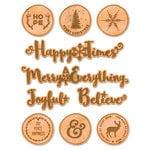 Fancy Pants Designs - Wish Season Collection - Christmas - Chipboard Stickers - Faux Wood