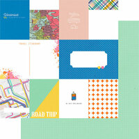 Fancy Pants Designs - On Our Way Collection - 12 x 12 Double Sided Paper - Travelogue