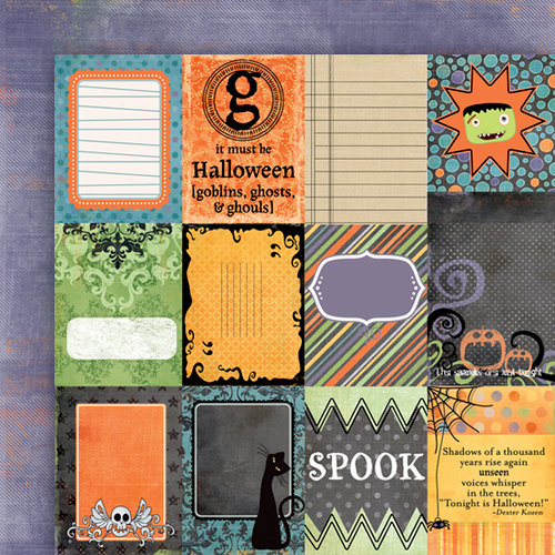Fancy Pants Designs - Trick or Treat Collection - Halloween - 12 x 12 Double Sided Paper - Trick or Treat Cards