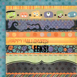 Fancy Pants Designs - Trick or Treat Collection - Halloween - 12 x 12 Double Sided Paper - Trick or Treat Strips
