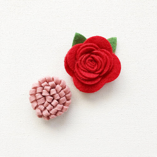 Fancy Pants Designs - Home For Christmas Collection - Felt Flowers
