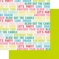 Fancy Pants Designs - Cake Smash Collection - 12 x 12 Double Sided Paper - Birthday Wishes