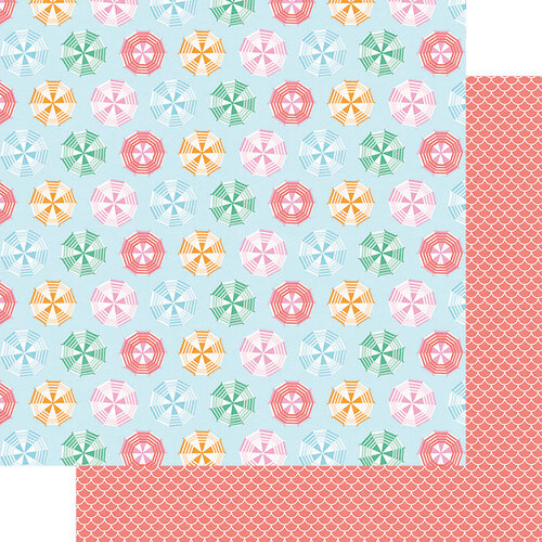 Fancy Pants Designs - Vitamin Sea Collection - 12 x 12 Double Sided Paper - Sunbrellas
