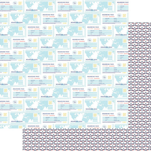 Fancy Pants Designs - Plane Fun Collection - 12 x 12 Double Sided Paper - Boarding Pass