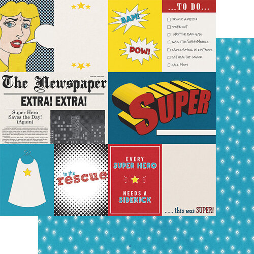 Fancy Pants Designs - Sidekick Optional Collection - 12 x 12 Double Sided Paper - Hero Cut-Apart