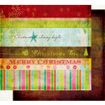 Fancy Pants Designs - Happy Holidays Collection - 12 x 12 Double Sided Paper - Strips, CLEARANCE