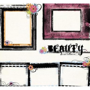 Fancy Pants Designs - 12x12 Printed Transparent Overlays - Black Frames, CLEARANCE