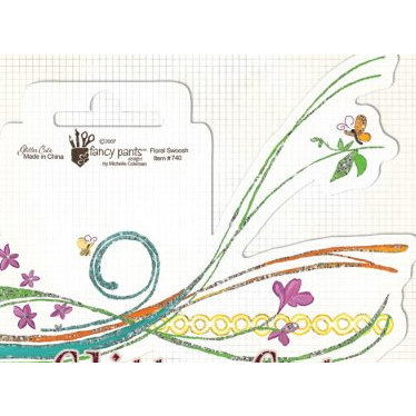 Fancy Pants Designs - Glitter Cuts Transparencies - Floral Swoosh