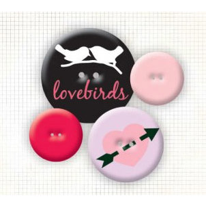 Fancy Pants Designs - Buttons - Valentine's Day - With Love, CLEARANCE