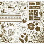 Fancy Pants Designs - 12x12 Acrylic Stamps - From the Garden