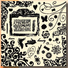 Fancy Pants Designs - 12x12 Acrylic Stamps - Bella Brush, CLEARANCE