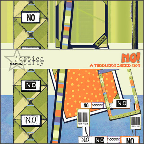 E-Kit Elements (Digital Scrapbooking) - No! A Toddlers Creed: Boy 3