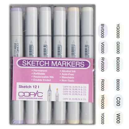 Copic - Sketch Marker Set - Pales - 12 Piece Set