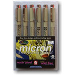 Sakura Pen Set - Micron 6 piece color set - .05