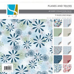 GCD Studios - Planes and Trains Collection - 12x12 Double Sided Paper Collection Pack - Planes and Trains - Boy , CLEARANCE