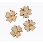 Grapevine Designs and Studio - Wood Shapes - Lucky Clovers - 4 Pack