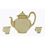 Grapevine Designs and Studio - Wood Shapes - Teapot with Cups
