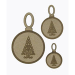 Grapevine Designs and Studio - Christmas - Chipboard Shapes - Scroll Tree Ornaments - Set of 3