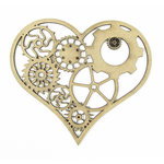Grapevine Designs and Studio - Chipboard Shapes - Gear Heart