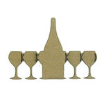 Grapevine Designs and Studio - Chipboard Shapes - Wine and Glasses