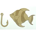 Grapevine Designs and Studio - Chipboard Shapes - Fish and Hook