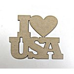 Grapevine Designs and Studio - Chipboard Shapes - I Love USA