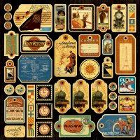 Graphic 45 - Transatlantique Collection - 12 x 12 Die Cuts - Tags