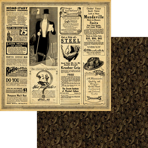 Graphic 45 - A Proper Gentleman Collection - 12 x 12 Double Sided Paper - Dashing and Debonair