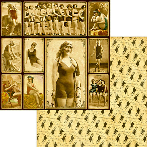 Graphic 45 - On the Boardwalk Collection - 12 x 12 Double Sided Paper - Bathing Beauties