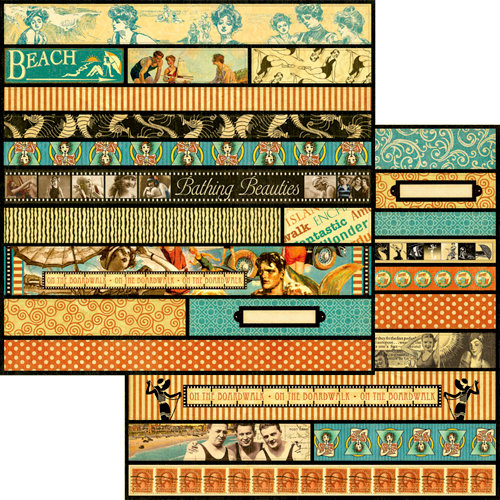 Graphic 45 - On the Boardwalk Collection - 12 x 12 Die Cuts - Borders