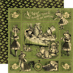 Graphic 45 - HalloweÂ'en in Wonderland Collection - 12 x 12 Double Sided Paper - AliceÂ's Tea Party