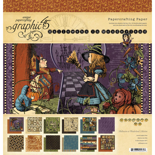 Graphic 45 - Hallowe'en in Wonderland Collection - 12 x 12 Paper Pad, BRAND NEW - click to enlarge