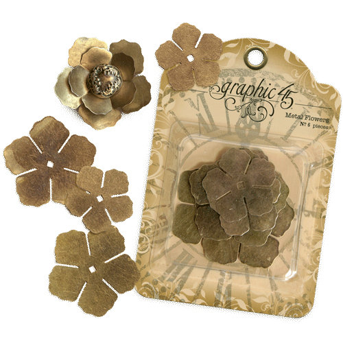 Graphic 45 - Staples Collection - Metal Flowers