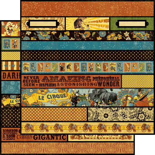Graphic 45 - Le Cirque Collection - 12 x 12 Die Cuts - Borders