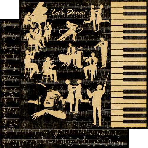Graphic 45 - Curtain Call Collection - 12 x 12 Double Sided Paper - Let's Dance