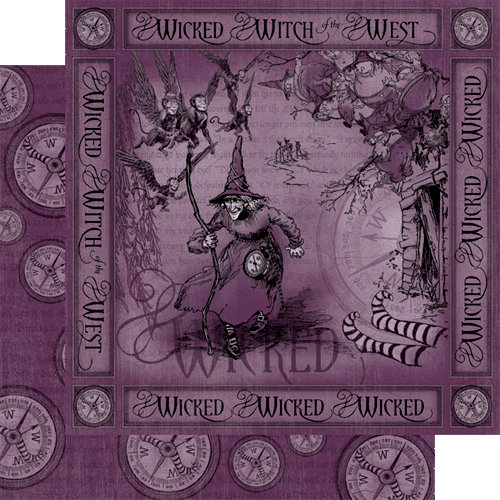 Graphic 45 - The Magic of Oz Collection - 12 x 12 Double Sided Paper - Wicked!