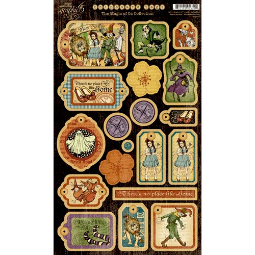 Graphic 45 - The Magic of Oz Collection - Die Cut Chipboard Pieces - Magic Tags One