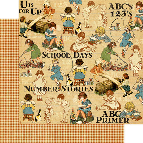 Graphic 45 - An ABC Primer Collection - 12 x 12 Double Sided Paper - Games and Playtime