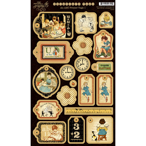 Graphic 45 - An ABC Primer Collection - Die Cut Chipboard Pieces - Tags One