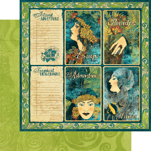 Graphic 45 - Tropical Travelogue Collection - 12 x 12 Double Sided Paper - Seaside Holiday