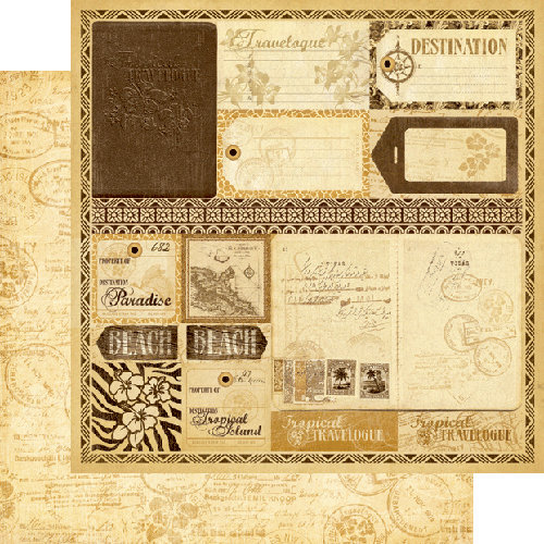 Graphic 45 - Tropical Travelogue Collection - 12 x 12 Double Sided Paper - Exotic Destination