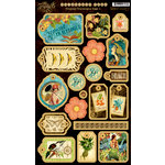 Graphic 45 - Tropical Travelogue Collection - Die Cut Chipboard Pieces - Tags One